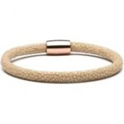 Casa Jewelry Armband Beige Stingray van leder slot zilver rosé verguld