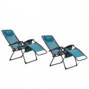Innovators Set 2 sedie a sdraio con poggiatesta, vassoio e tasca