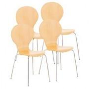 Ofisillas Lote 4 sillas de confidente CARVALLO, estructura metálica, color marrón haya