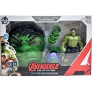 DollsnKings Toys 3 in 1 Avengers Hulk Action Figure with Mask and Disk Launcher Gift for Kids (Multicolor)