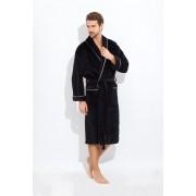 PECHE MONNAIE Махровый мужской халат черного цвета с белой окантовкой PECHE MONNAIE 1588 Черный