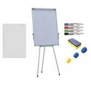 Pachet Flipchart magnetic 70x100 cm Premium inaltime ajustabila + accesorii hartie flipchart markere burete magneti