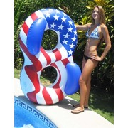 "65"" Water Sports Patriotic American Flag Duo Circular Inflatable Swimming Pool Lounger"