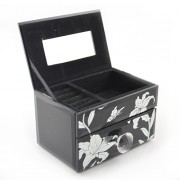 Cutie pentru bijuterii neagra din sticla cu sertar si oglinda