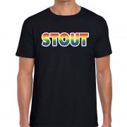Bellatio Decorations Stout regenboog gay pride shirt zwart voor heren XL - Feestshirts