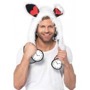 Leg Avenue Alice Rabbit Furry Hood Unisex Costume White A2719