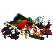 Pirate 37 piece Playset: 54mm Pirate Figures, Ship, Cannon, Raft, Canoe, Trees and Play Mat - 1:35 s