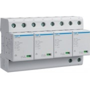 Túlfeszültség levezető (cserélhető betétes) 4 pólus, B+C (T1+T2) fokozatú, távjelzővel, 255V/100kA (Hager SPN801R)