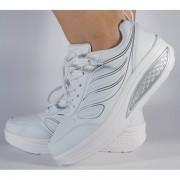 Adidasi albi cu talpa convexa