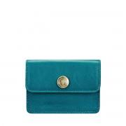 Maxwell-Scott Damen Leder Visitenkartenhalter in Petrol- Portofino Nappa