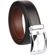 The Tote Shope Men Casual Black, Brown Synthetic Reversible Belt