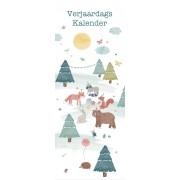 Dille&Kamille Calendrier d'anniversaire, papier, les animaux de la forêt, néerlandais, 33 x 13 cm