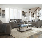 2 pc Sallazar collection grey linen like fabric upholstered sofa and love seat set with flared arms