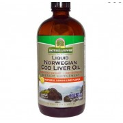 Natures Answer Liquid Norwegian Cod Liver Oil Natural Lemon-Lime Flavor (480 ml) - Nature's Answer