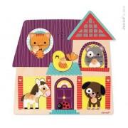 """JANOD Puzzle muzyczne - drewniana układanka muzyczna """"Moi mali przyjaciele (zwierzęta)"""", J07078"""