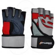 Fitnes rukavice Xplorer sivo-crvene, L