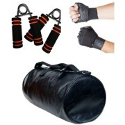 Combo Set Of Gym Bag (Black) Gym Gloves with Wrist Support TWO Hand Grip