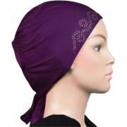 Hijab RHINESTONE TIE BACK PURPLE Abaya Cap Women Hair Hat Ladies Under Scarf Stole Kitchen Pregnancy Head Burka