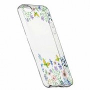 Husa Silicon Transparent Slim ButterFly - Flowers 95 Apple iPhone 5 5S SE