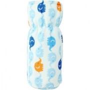 Neska Moda Blue And White Baby Feeding Velvet Bottle Cover (Capacity 125 ML) BC2
