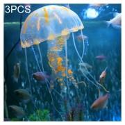 3 PCS Acuario Silicona Fluorescente Articulos Decoracion Simulación Sucker Medusas, Tamaño: 3,5 * 11cm (naranja)