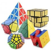 Toy Arena Combo of Pyramorphix Pyramind Speed Cube and Megamix, (Multicolour, 6_Cubes) - 6 Pieces