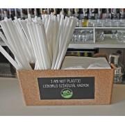 Lebomló pla szívószál csomag fehér szalvétával, ajándék bar organizerrel