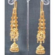 Wedding Golden Jhumka Chain Earring