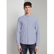 TOM TAILOR DENIM Overhemd in piqué-structuur, Heren, Blue Younder, XXL