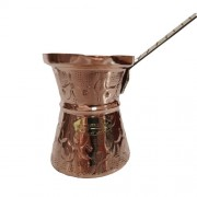 Ibric Cafea din Cupru Solid Gravat, 240ml, Maner Bronz, ExtraAroma N5