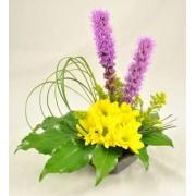 Aranjament cu liatris si crizanteme