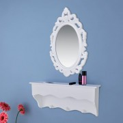 vidaXL Wall Shelf Set for Keys and Jewelery with Mirror and Hooks
