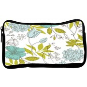 Snoogg Green Leaves White Poly Canvas Student Pen Pencil Case Coin Purse Utility Pouch Cosmetic Makeup Bag