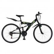 """Bicicleta MTB-HT 26"""" RICH, cadru otel, culoare negru/verde, R2648A"""