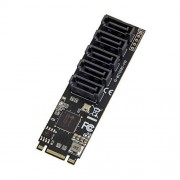 IO Crest Tarjeta adaptadora Interna de 5 Puertos SATA III 6 GB/s M.2 B+M para PC de sobremesa, Compatible con SSD y HDD. JMB585 Chipset