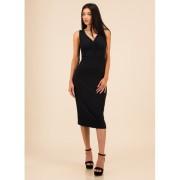 CheapChic Go All-in Ruched Rib Knit Midi Dress Black