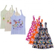 IndiWeaves Baby Girls Cotton Printed Frock and Printed Slips (Pack of 6)