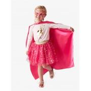 VERTBAUDET Disfarce de Super Heroína rosa vivo liso com motivo