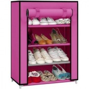 Caxon Non-Woven Cloth Foldable Shoe Rack Organizer 4 Layers Pink