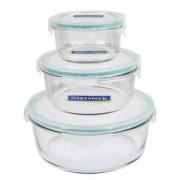 Set 3 cutii Glasslock rotunde din sticla cu capac plastic 370 ml + 920 ml + 2000 ml