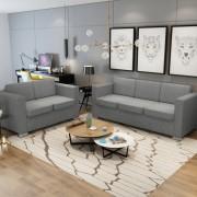 vidaXL Комплект дивани, мека мебел от две части, светло сиво
