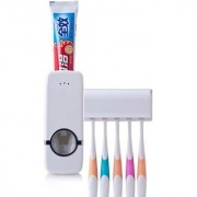 White Automatic Toothpaste Dispenser 5 Toothbrush Holder Set Wall Mount Stand