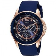 GUESS Blue Silicone Round Dial Quartz Watch For Men (W0485G1)