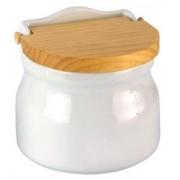 Salero de cocina oval tapa madera