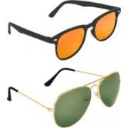 Zyaden Rectangular, Aviator Sunglasses(Multicolor, Green)