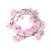 2M Sakura Hanging Vines Artificial Flower Bush Wedding Decoration Flowers Supplies (Pink)