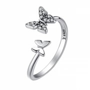 Inel argint 925 KRASSUS Flying Butterflies reglabil, marime universala, model fluture