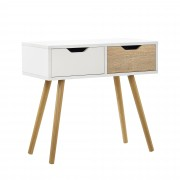 [en.casa] Cómoda moderna / Mesa consola con 2 cajones diseño retro escandinavo (60x30x57cm) - blanco