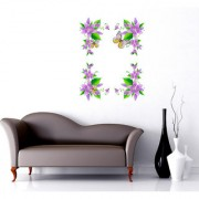 Walltola Wall Sticker- Flowers In Purple Border Design Tv Background Design Vinyl ( Finished Size 85cm x 110cm)