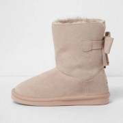 River Island Girls Pink faux fur lined suede short boots